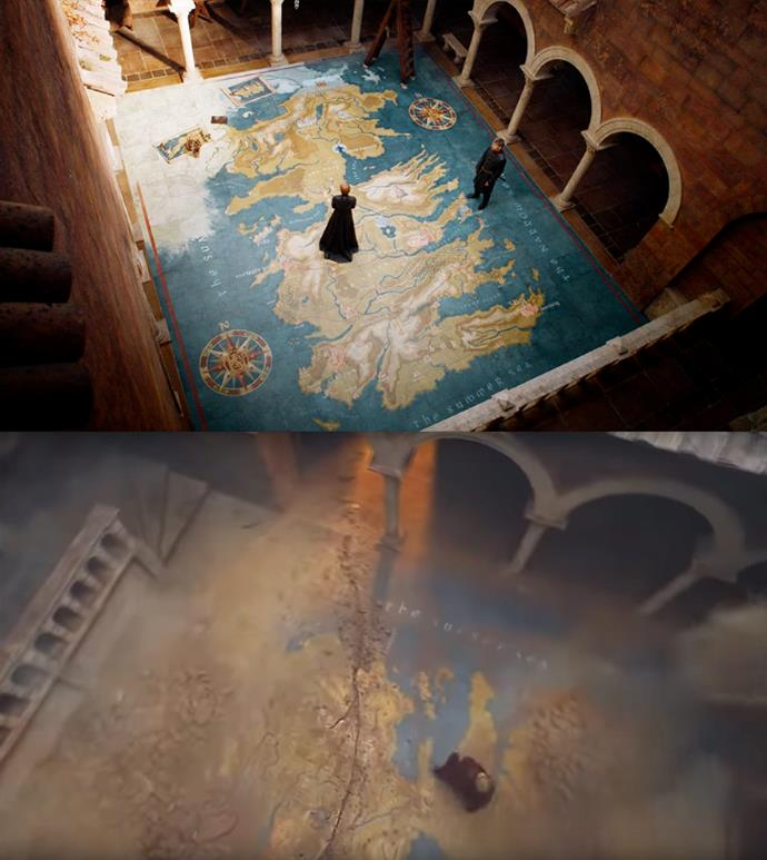 "***""What about the North?""***<br><br> Viewers will be familiar with the large painted map within the Red Keep that Cersei is routinely pictured on. But fans might not have noticed this particular detail from the latest episode. As Cersei makes her way across it, the building crumbles and a new crack cuts through the map—right through The Neck, where the South meets the North. Does the metaphorical cutting off of the North from the South hint that the Starks will regain independence over their home?"