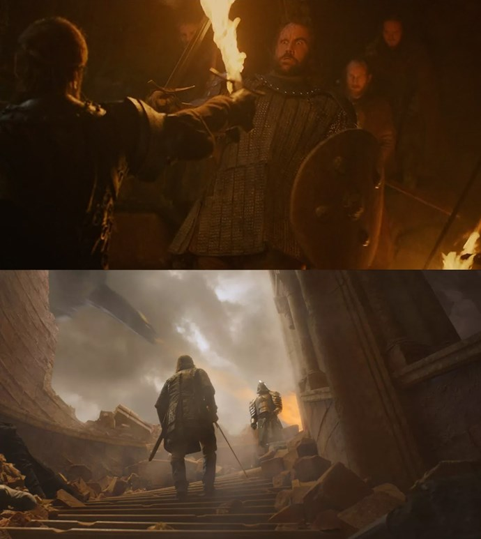 **Sandor facing his fear**<br><br> One of the most heartbreaking moments in the episode is when Sandor realises he can't kill his brother in hand-to-hand combat. With the city burning around him, the Hound—who is famously afraid of fire after being burned by his brother—faces his fear and tackles the Mountain into the flames, taking them both back to where it began.