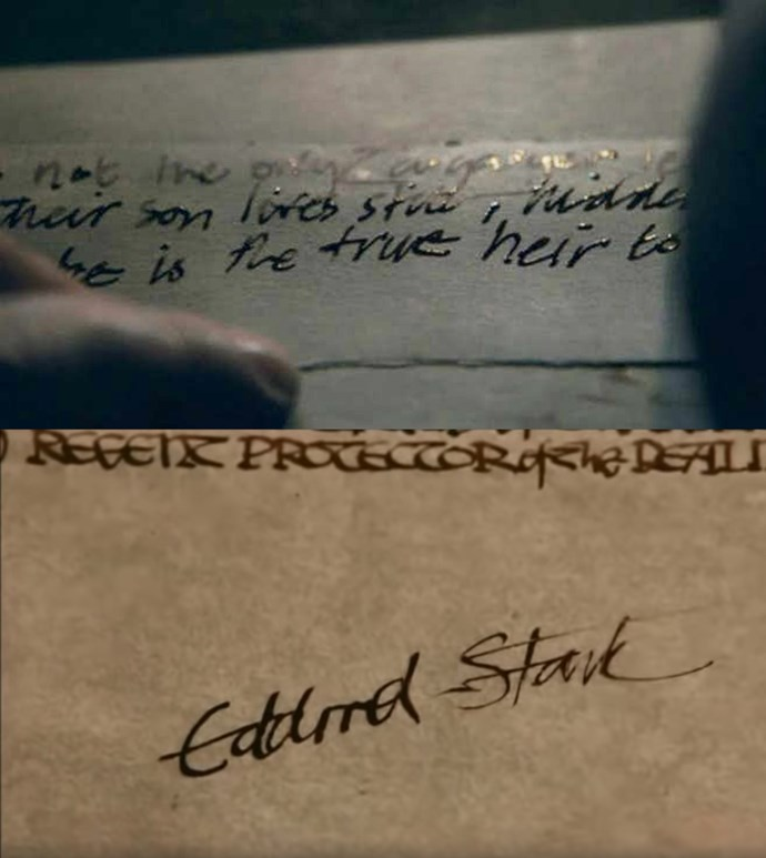 "***Letters of treason***<br><br> When Grey Worm and his soldiers come to arrest Varys and take him to be executed, he's writing letters announcing Jon's parentage and proclaiming him ""true heir"". This is a subtle call-back to season one, when Ned Stark wrote a letter to Stannis Baratheon, naming Joffrey a ""false ruler""."