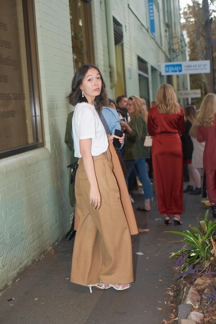 **Mahalia Chang, Digital Managing Editor** <br><br> Prada t-shirt, vintage coat and pants, KARA bag.
