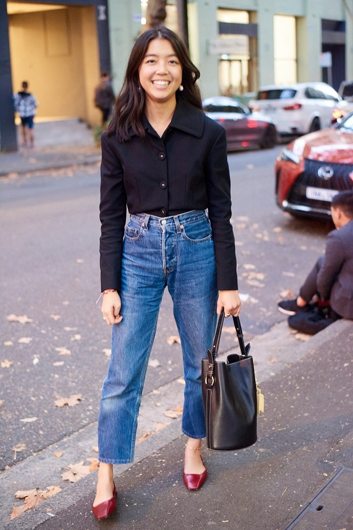 **Samantha Wong, Market Editor** <br><br> Proenza Schouler top from The Outnet, Levi's jeans, Oroton bag with The Daily Edited bag attached and Charles & Keith shoes.