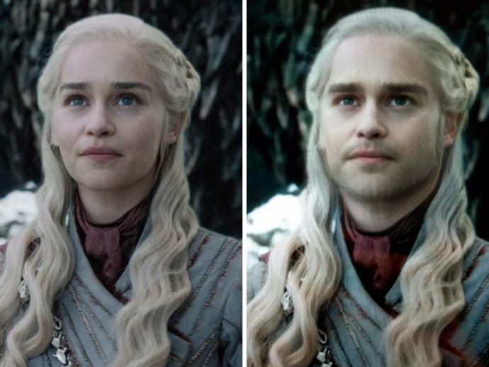 "**Daenerys Targaryen**<br><br>  We don't know whether Emilia Clarke has been playing around with Snapchat filters, but we do know what Daenerys would look like as an *hombre*.<br><br>  *Image via [Ruin My Week](https://ruinmyweek.com/entertainment/tv/i-put-the-game-of-thrones-characters-in-snapchats-gender-swap-filter-so-you-dont-have-to/|target=""_blank""