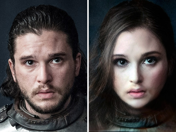 """**Jon Snow**<br><br>  Why leave Jon out of all the fun?<br><br>  *Image via [Ruin My Week](https://ruinmyweek.com/entertainment/tv/i-put-the-game-of-thrones-characters-in-snapchats-gender-swap-filter-so-you-dont-have-to/ target=""""_blank"""" rel=""""nofollow"""")*"""