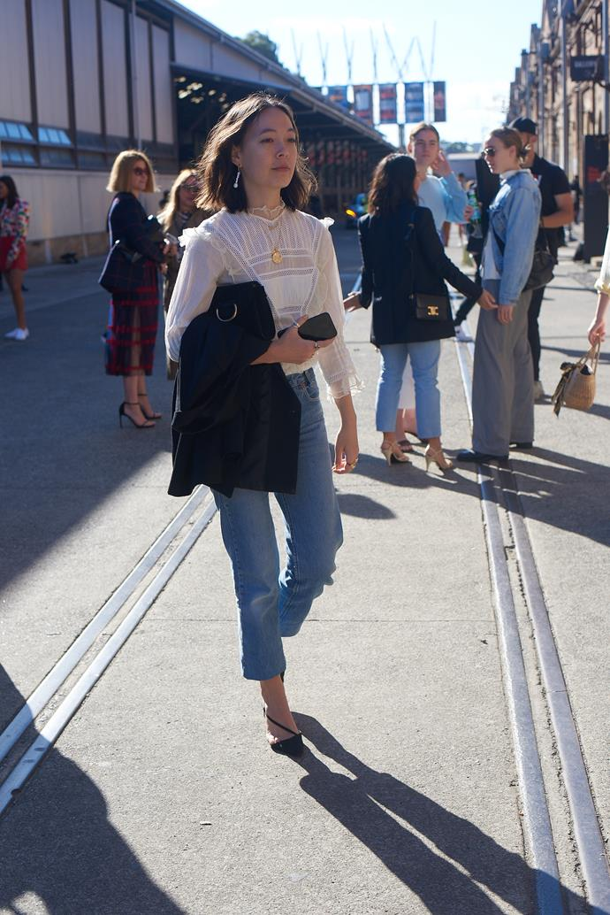 **Mahalia Chang, Digital Managing Editor** <br><br> Dôen dress as top, Levi's jeans, Manolo Blahnik shoes and Little Lifner bag.