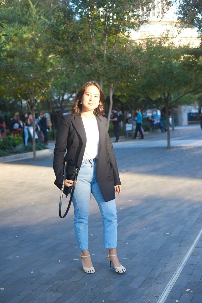 **Caroline Tran, Fashion Editor** <br><br> Blaze Milano jacket, Hanes t-shirt, Levi's jeans and The Row shoes.