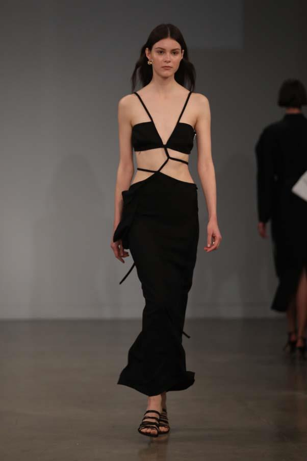 **Cut out for it:** Eveningwear was nonchalant and sexy—all black, with risque cut-outs for added va-va-voom factor.  <br><br> Christopher Esber Resort '20