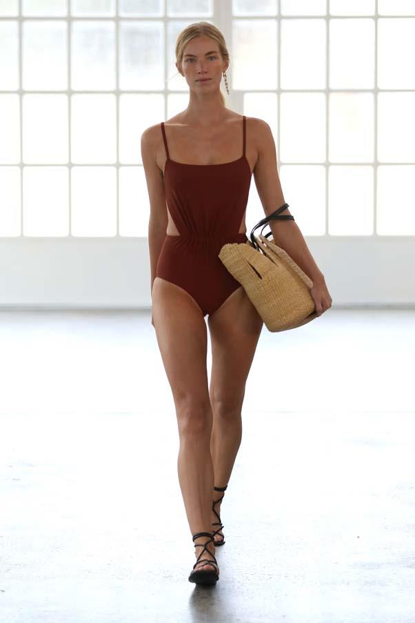 **Shades of rust:** Structured one-pieces in hues of orange and rust were the swimwear of choice this season. The best part? They work as apparel off the beach, worn with denim shorts or tailored pants.<br><br>Matteau Resort '20