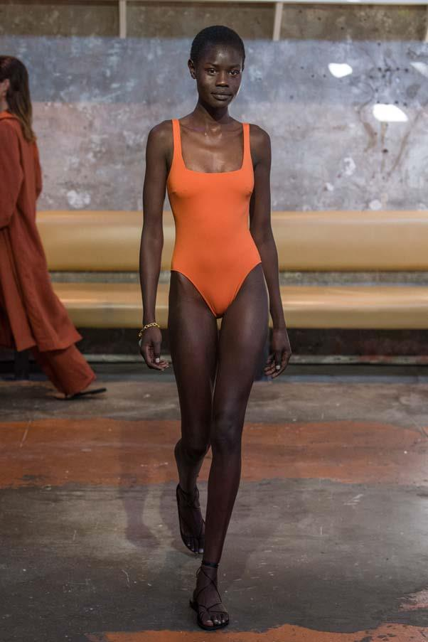 **Shades of rust:** Structured one-pieces in hues of orange and rust were the swimwear of choice this season. The best part? They work as apparel off the beach, worn with denim shorts or tailored pants.<br><br>   Bondi Born Resort '20