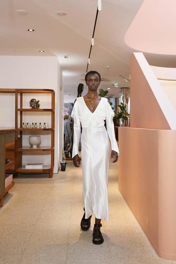 **Silky whites:** We loved the fluid eveningwear made of bright white silk. Keep the look grounded by eschewing heels for chunky sandals.  <br><br> Hansen & Gretel Resort '20