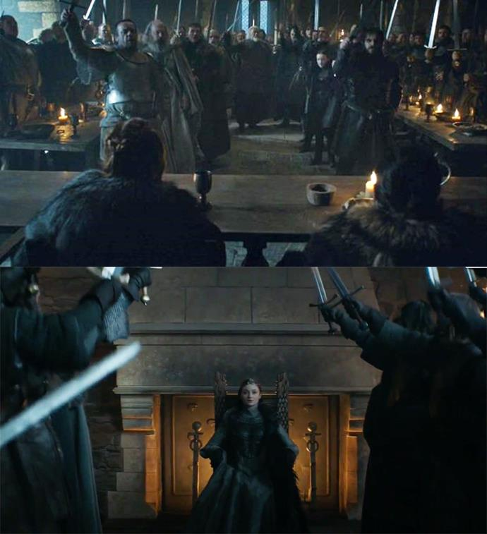 "***The Queen in the North***<br><br> Throughout the series, we see three monarchs of the North crowned: Robb, Jon and Sansa. Sansa's coronation at the end mirrors both Jon and Robb's, with her lords raising their swords and proclaiming, ""The Queen in the North!"""