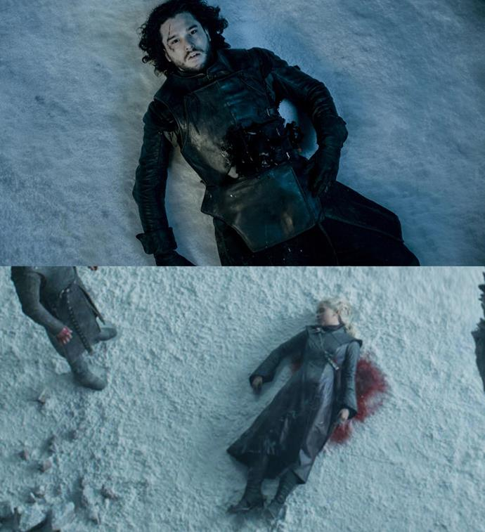 "***Jon and Daenerys' deaths***<br><br> When Jon Snow is stabbed and killed by the Night's Watch, the shot pans out to him bleeding to death in the snow. This shot is briefly recreated with Daenerys in the finale, where she lies in the ash. Both were killed ""for the greater good."""