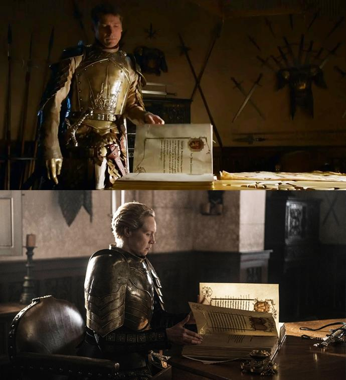 "***The White Book of the Kingsguard***<br><br> Jaime once told Brienne of the White Book of the Kingsguard: ""It's the duty of the Lord Commander to fill those pages. There's still room left on mine.""<br><Br> When Brienne is made Lord Commander of the Kingsguard, she sits down to complete Jaime's pages, ensuring future generations know him as a hero."