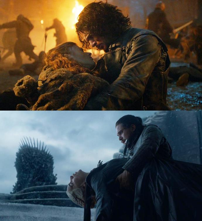 ***The Fate of Jon's Lovers***<br><br> Poor Jon doesn't have great luck with ladies. Daenerys' dying in his arms is a tragic call-back to Ygritte's death at Castle Black. In the end, they both die in his arms and mostly by his hand. For Daenerys, he killed her himself, but with Ygritte, he trained the boy who ended up shooting her with an arrow.