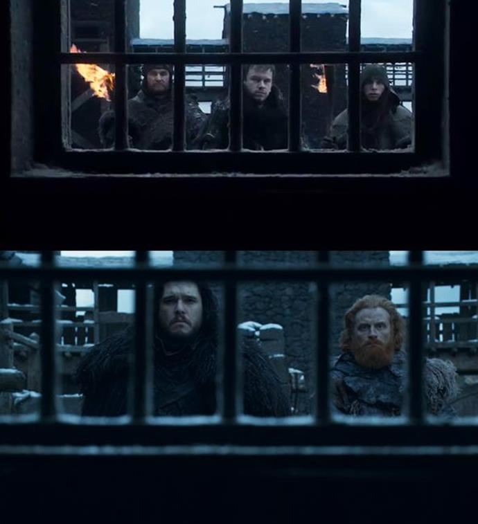 "***The Night's Watch***<br><br> That isn't the only shot they recreated. This particular framing, of the ""Night's Watch"" seen through The Wall's gate, is repeated in the finale. The presence of Tormund, a wildling, with Jon signifies the changing nature of the ""Watch""... if there is one at all."