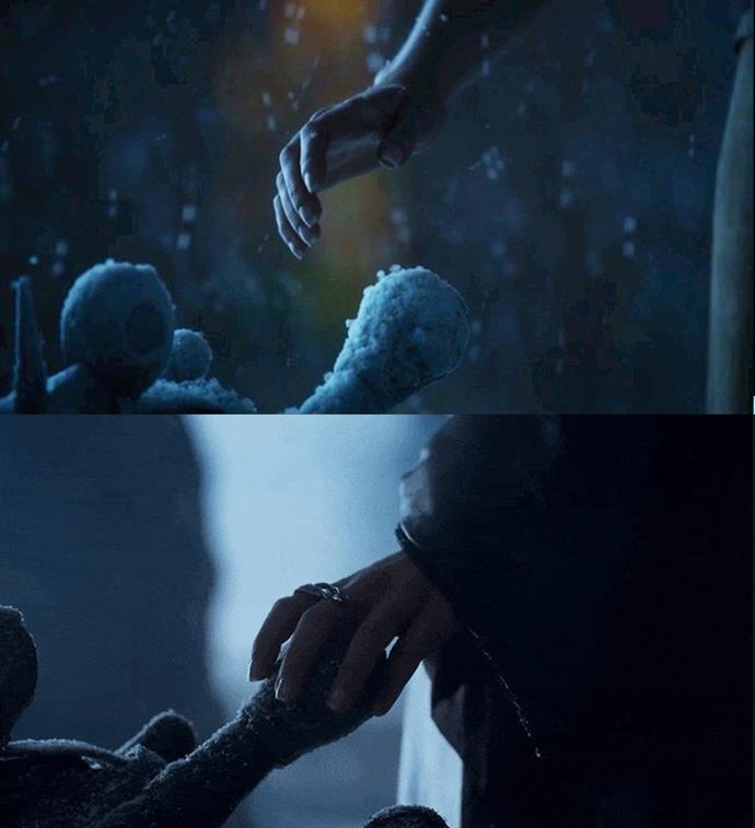 ***Touching the Throne***<br><bR> In that same vision, Daenerys reaches her hand out to the throne, but turns away when she hears the call of her dragons. In the finale scene, she does touch it... but never gets to sit on it. This is a heartbreaking nod to how close she got to ruling, but how she never got to do it in the end.