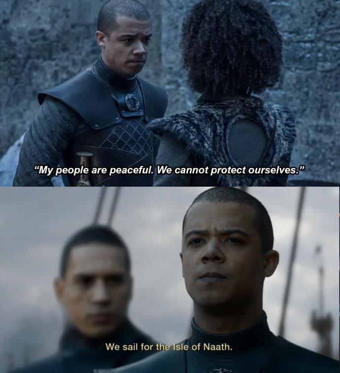 "***Naath's New Protectors***<br><br> While in Winterfell, Grey Worm and Missandei discuss what they'd like to do after the war. Missandei tells him she'd like to visit her home of Naath again, but that her people ""are peaceful"" and that they ""cannot protect themselves."" Grey Worm replies that ""my people are not peaceful. We will protect you.""<br><br> Although he never got to sail to Naath with Missandei, without a queen at the end, Grey Worm takes the Unsullied to Naath... presumably to serve as protectors of the Isle forever."