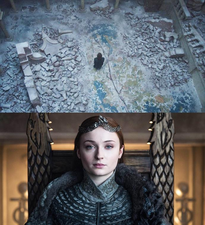 ***The Independence of the North***<br><br> In episode five, the destruction of King's Landing leaves the Red Keep's map room with a giant crack through it. Symbolically, the crack cuts through the map, cutting off the North from the rest of the country. This could be a subtle nod to the North's eventual independence under Queen Sansa.
