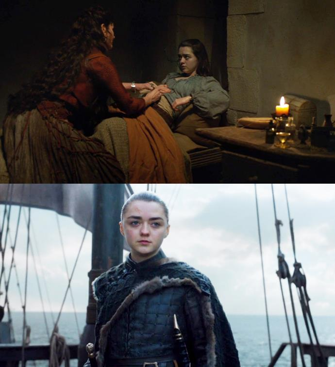 "***""What's west of Westeros?""***<bR><br> While Arya's decision not to join her sister in the North, but instead take a ship and sail west, may have come as a surprise, she's actually planned it all along.<br><br> When chatting with Lady Crane in season five (who, at the time, was trying to convince her to come along with her troop), Arya says, ""Essos is east, and Westeros is west. But what's west of Westeros?"" When Lady Crane replies that she doesn't know, Arya says: ""Nobody does. It's where all the maps stop."""
