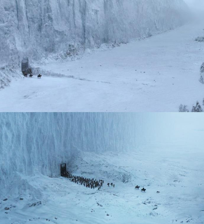 ***Beyond the Wall***<br><br> In the very first episode, we see a trio of Night's Watch rangers go beyond The Wall. This exact shot is used again in the series finale, but this time, it's Jon Snow leading the wildlings back to their home.