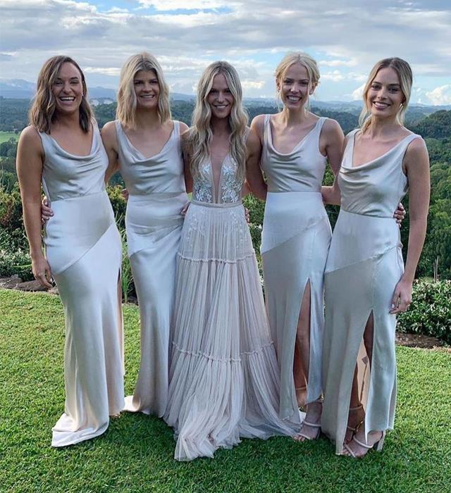 **Margot Robbie** <br><br> The Academy-Award nominee flew from Los Angeles to Australia, in order to play bridesmaid at her best friend's wedding in 2019. Robbie stunned in a slinky champagne-toned dress with a leg slit.