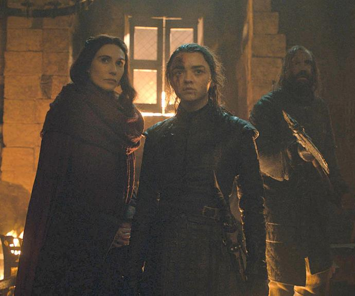 ***The question of the 'green eyes'***<br><Br> During the Battle of Winterfell, Melisandre reminds Arya of her own personal prophecy that she will close 'brown eyes, blue eyes, green eyes forever.' Fans noted that she already completed two parts—Walder Frey had brown eyes while the Night King had blue eyes—but the third part, the green eyes, never amounted to anything.