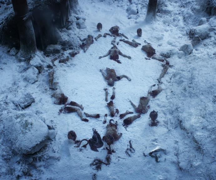 ***What was the meaning behind the Night King's body symbols?*** <br><br> Throughout the seasons, we were chilled to the bone whenever the Night King and his army left 'symbols' made out of dead bodies. Whether they were swirls or intricate patterns, they appeared to hold a certain significance either to the Night King or to the Children of the Forest (who he originated from)… but we never found out what. Was it just a warning, the equivalent of carving 'NK wuz here' into a tree? Or was it something deeper that never got the airtime?