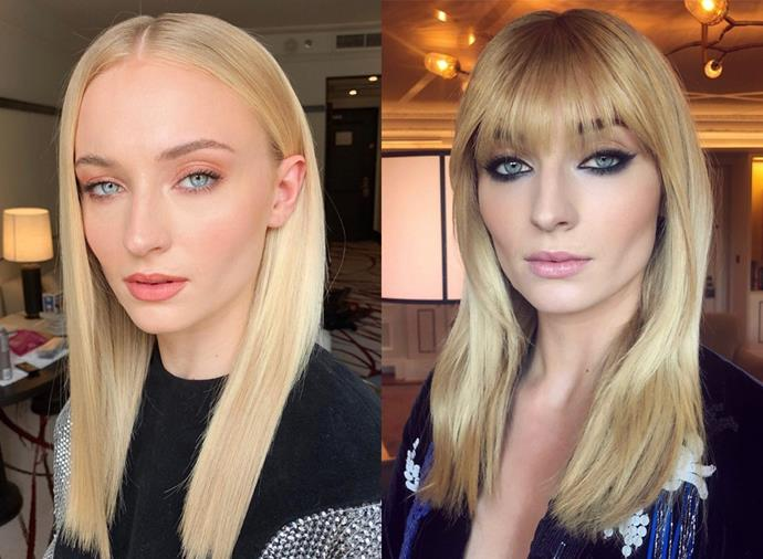 **Sophie Turner:** That's one way to keep a press tour interesting! Smack bang in the middle of her *X-Men: Dark Phoenix* promo tour, hairstylist Christian Wood cut Sophie Turner a heavenly set of blunt bangs that fall right to the top of the eye. Sultry.