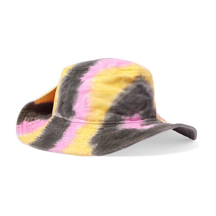 "Hat by Ganni, $128 at [NET-A-PORTER](https://www.net-a-porter.com/au/en/product/1127650|target=""_blank""|rel=""nofollow"")."