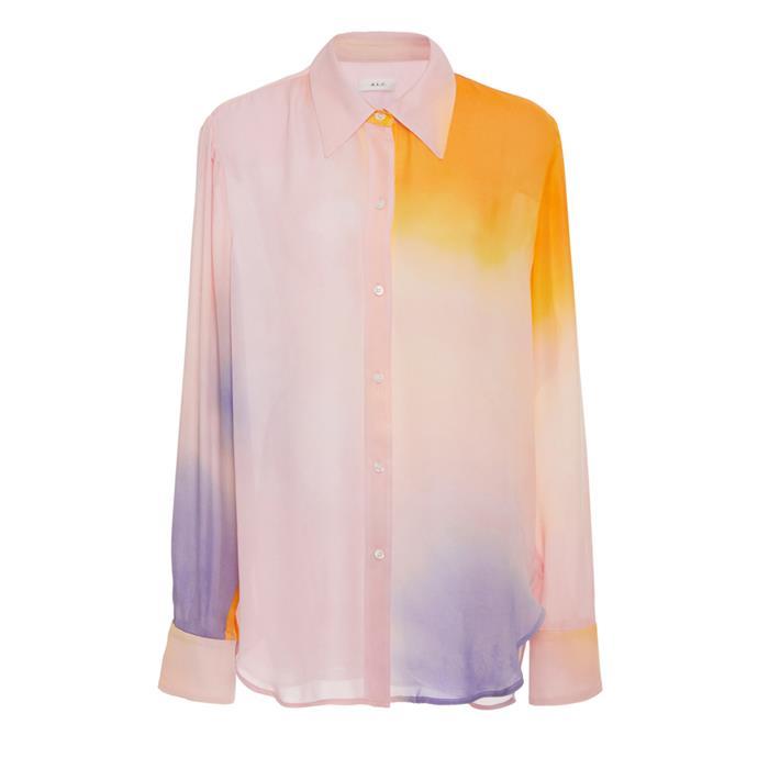 "Shirt by A.L.C., $411 at [Moda Operandi](https://www.modaoperandi.com/a-l-c-ss19/jayne-tie-dyed-silk-top|target=""_blank""|rel=""nofollow"")."