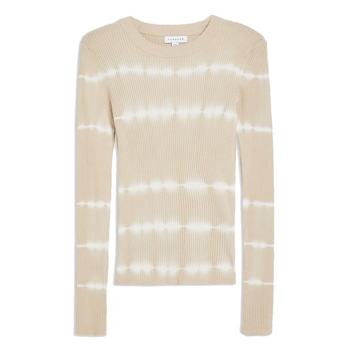"Top, $45 at [Topshop](https://www.topshop.com/en/tsuk/product/tie-dye-knitted-top-8776691|target=""_blank""
