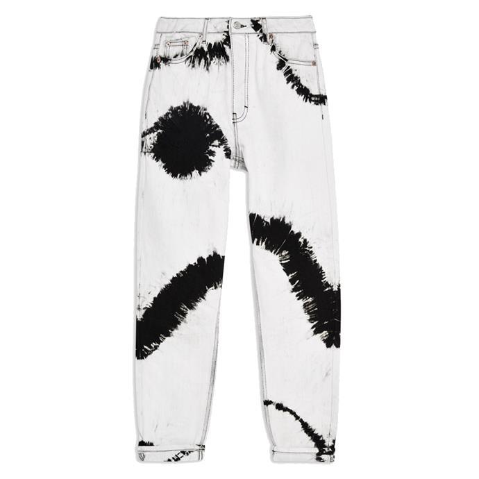 "Jeans, $76 at [Topshop](https://www.topshop.com/en/tsuk/product/black-tie-dye-mom-jeans-8407374|target=""_blank""|rel=""nofollow"")."