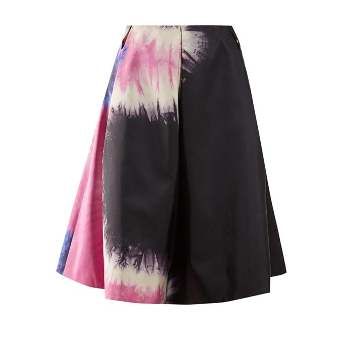 "Skirt by Prada, $2,650 at [MATCHESFASHION.COM](https://www.matchesfashion.com/au/products/Prada-Tie-dye-print-silk-skirt-1272429|target=""_blank""