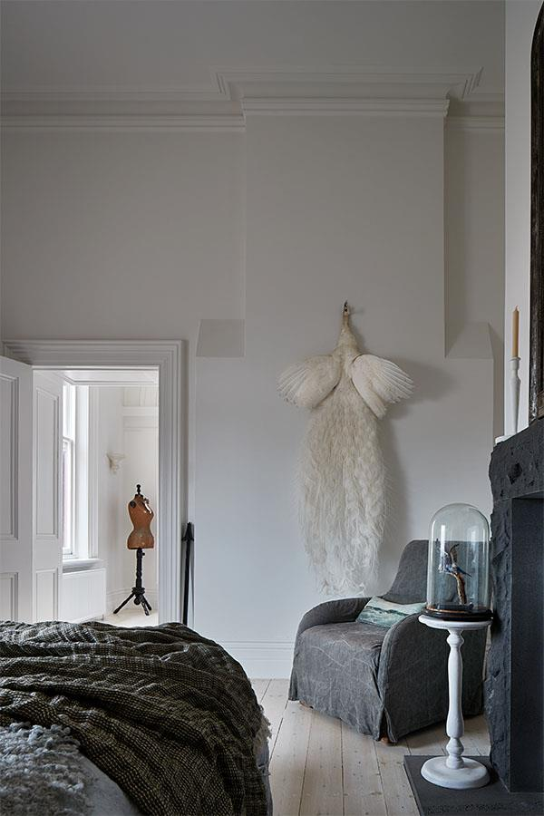 Patsiotis has a penchant for taxidermy, and intriguing specimens decorate her home – sourced through accidental or natural death. Despite her love of art and antiques, Patsiotis wanted the architectural details to be the focal point. A colour palette of white walls and lime-washed floor boards lends a calm backdrop.