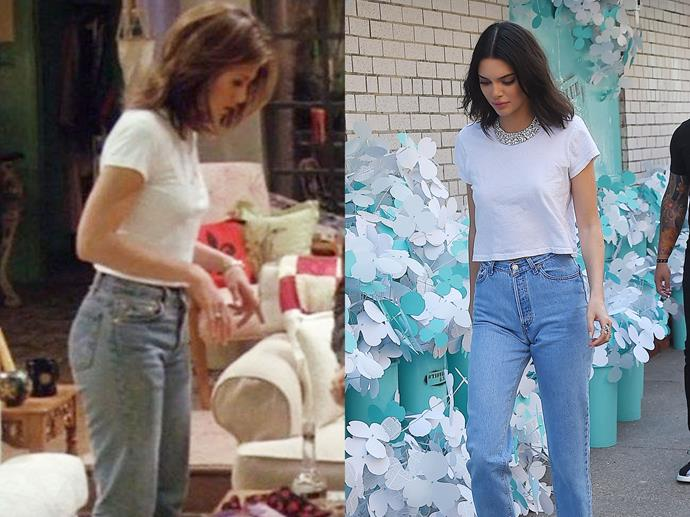 **Rachel Green and Kendall Jenner**<br><br>  A white t-shirt with mum jeans was one of Rachel's signatures, and now it appears to be one of Kendall's too.