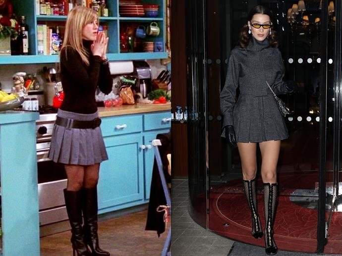 **Rachel Green and Bella Hadid**<br><br>  Bella Hadid's pleated grey mini and striking black boots are textbook Rachel in the best way possible.