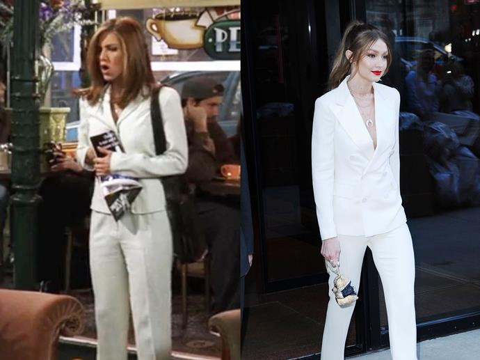 **Rachel Green and Gigi Hadid**<br><br>  When in doubt, wear a white power suit and channel Rachel Green.