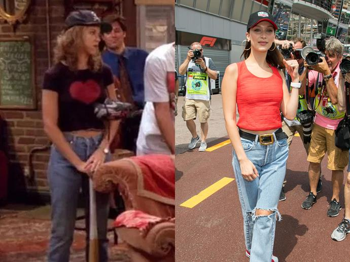 **Rachel Green and Bella Hadid**<br><br>  Cute cap? Check. Casual top? Check. Baggy mum jeans? Check.
