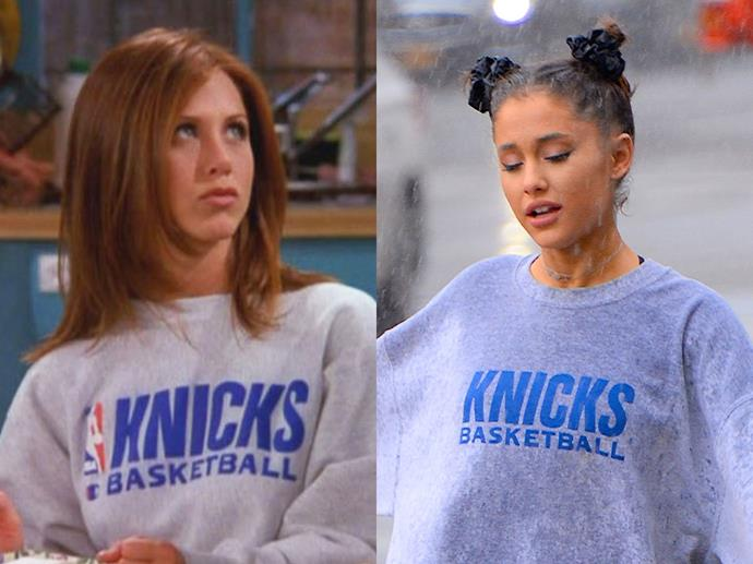 **Rachel Green and Ariana Grande**<br><br>  Rachel rocking oversized NBA sweats was cool then and it's cool now. Just ask Ariana Grande.
