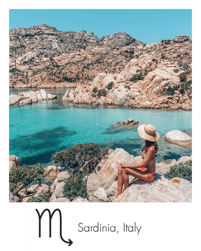 "**Scorpio:** ***Sardinia, Italy***<br><br>  Deep and introspective, water-ruled Scorpios will find solace in the stunning blue seas surrounding the Italian island of Sardinia.<br><br>  *Image via [@miss_wanderess](https://www.instagram.com/miss_wanderess/|target=""_blank""