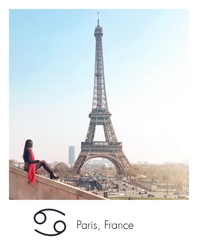 "**Cancer:** ***Paris, France***<br><br>  Romantic Cancerians will love to while the time away in this French city of *l'amour*.<br><br>  *Image via [@kvdenn](https://www.instagram.com/kvdenn/|target=""_blank""