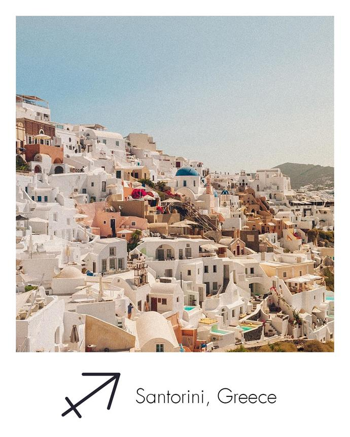 "**Sagittarius:** ***Santorini, Greece***<br><br>  Forever seeking fun and adventure, Sagittarius will find plenty of joy gallivanting around the Greek Islands. First stop? Santorini.<br><br>  *Image via [@alessandro.carai](https://www.instagram.com/alessandro.carai/|target=""_blank""