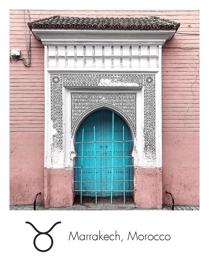 "**Taurus:** ***Marrakech, Morocco***<br><br>  Venus-ruled Taurus will feel revived by the sensuous architecture and hidden gems of Morocco's red city, Marrakech.<br><br>   *Image via [@bei.bei.wei](https://www.instagram.com/bei.bei.wei/|target=""_blank""