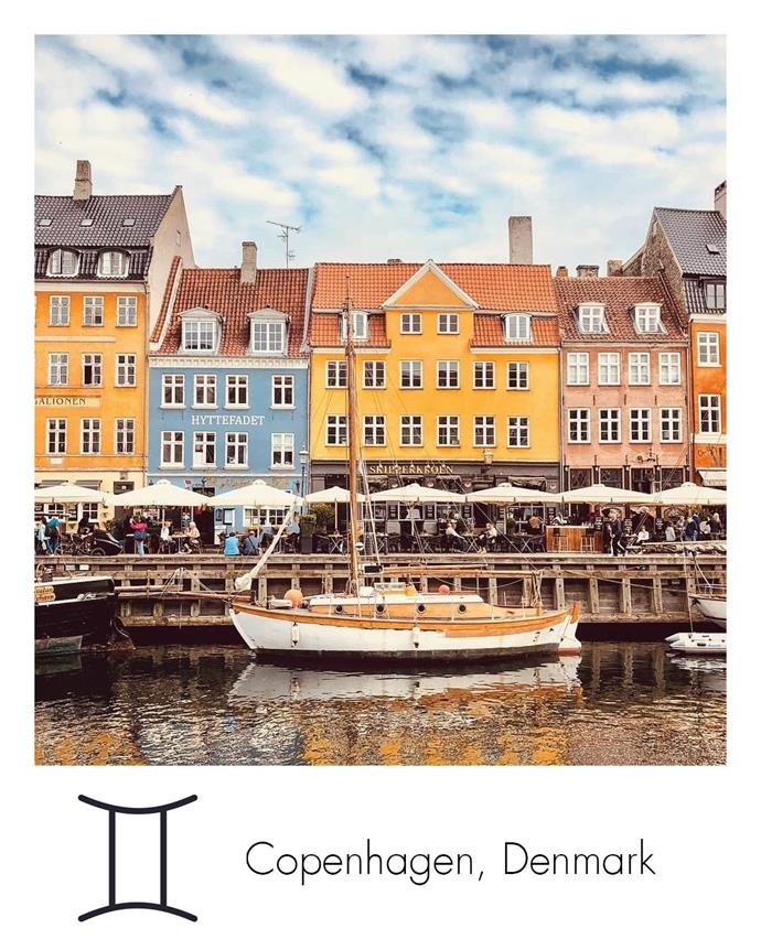 "**Gemini:** ***Copenhagen, Denmark***<br><br>  Attracted to cool, buzzing environments and intellectual discussion, Geminis will feel right at home in Denmark's capital.<br><br>  *Image via [@heradventureswithhim](https://www.instagram.com/heradventureswithhim/|target=""_blank""