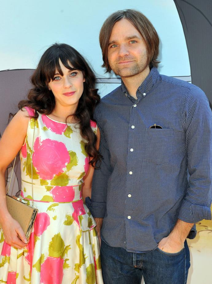 **Zooey Deschanel:** The *New Girl* actress spent two years married to Death Cab For Cutie frontman Ben Gibbard (pictured) before filing for divorce in 2012. Deschanel then remarried, to executive producer Jacob Pechenik, and the couple had two children, daughter Elsie Otter, born July 2015, and son Charlie Wolf, born in May 2017. Sadly, Deschanel and Pechenik announced their split in September 2019 after four years of marriage.