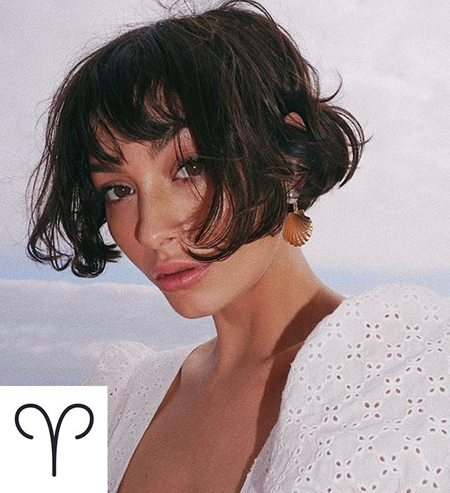 **ARIES: THE SUPER-SHORT BOB** <br><br> These adventurous go-getters should embrace an ear lobe-grazing length with plenty of texture that screams 'fun, fearless French girl'.