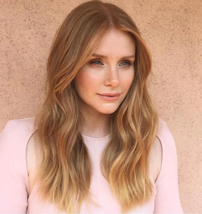 **Berry Blonde, as seen on Bryce Dallas Howard:** This shade of mid-to-light blonde shade is characterised by its rose or copper undertones, which add warmth and depth to the hair strands. A more subtle version of the classic strawberry blonde shade, it's universally flattering to any skin tone.