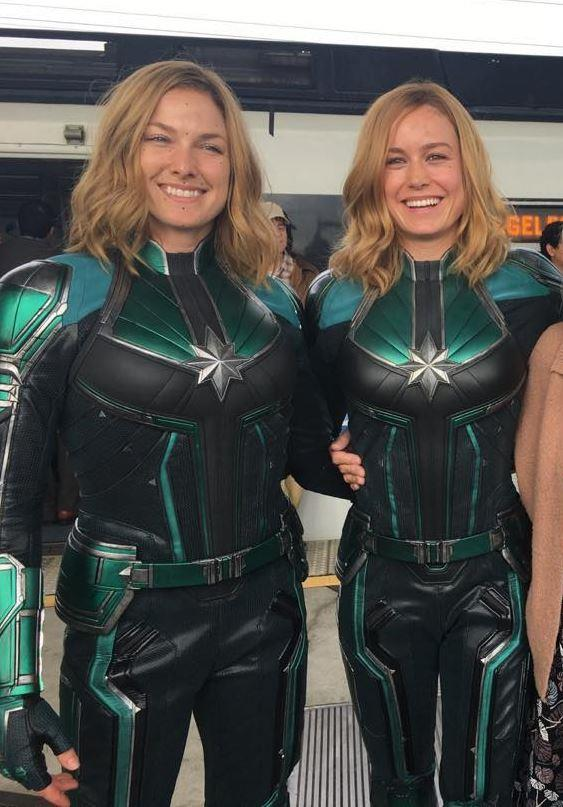 Brie Larson and her *Captain Marvel* double, Renae Moneymaker.