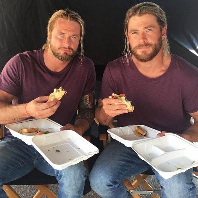Chris Hemsworth and his *Thor* twin, Bobby Holland Hanton.