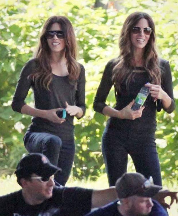 Kate Beckinsale and her double, Alicia Vela-Bailey.