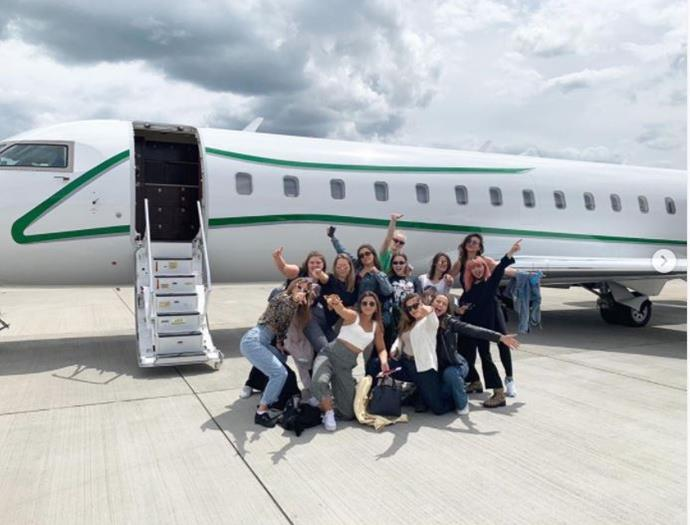 "**Before boarding the bachelorette plane**<br><br>  Snapped with all of her friends in front of what appeared to be a private plane just for them, Turner and co. commemorated their pre-boarding experience with a group photo.<br><br>  *Image via [@nadia.parkes](https://www.instagram.com/nadia.parkes/?utm_source=ig_embed|target=""_blank""